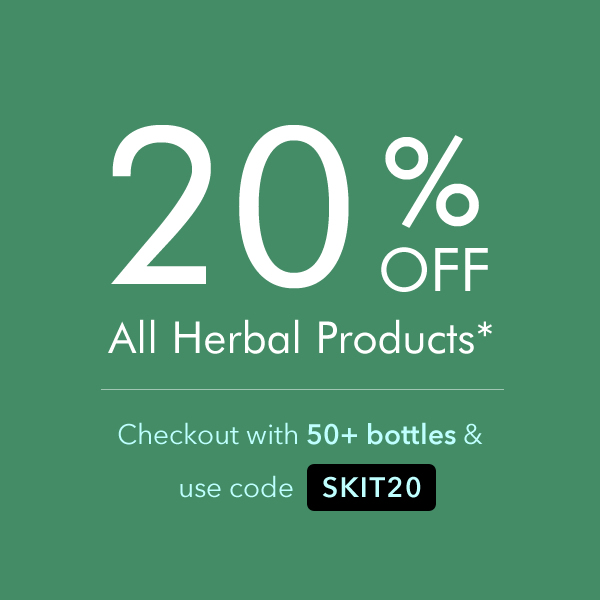 Order 50+ bottles of herbs and checkout using code SKIT20